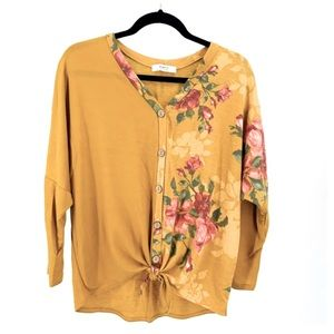 a.gain Oversized Yellow Floral Tie Front Top